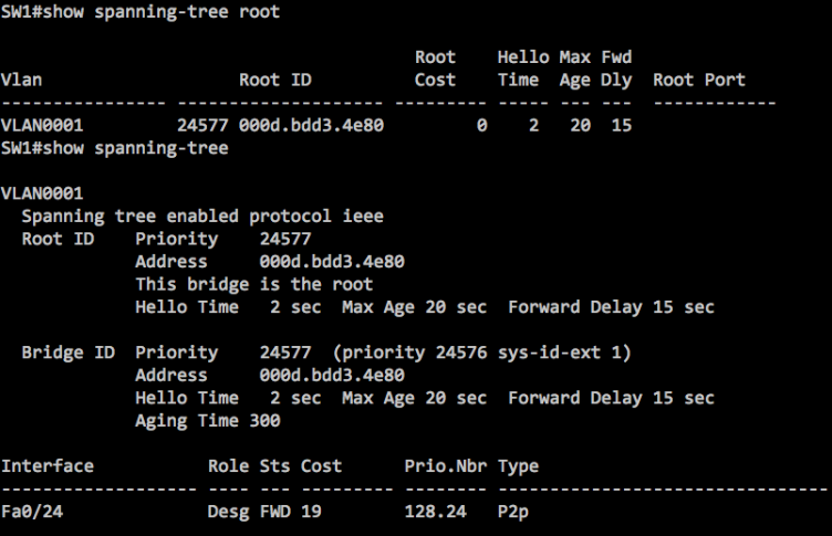 The output of spanning-tree command