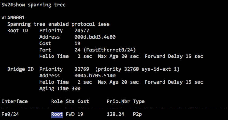 Output from show spanning-tree to display the root port