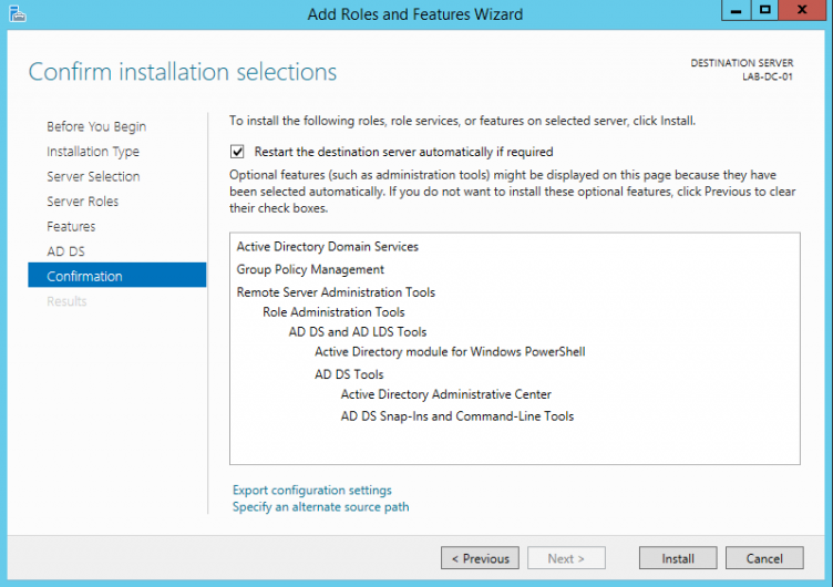 Confirm Active Directory Roles and Features installation