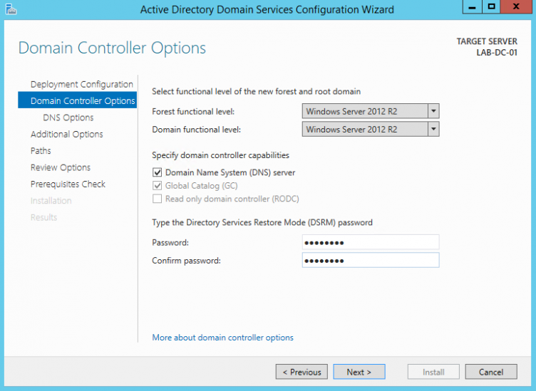 Server 2012 Domain Controller Options
