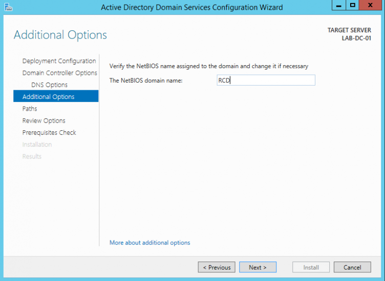 Server 2012 AD DS Additional Options
