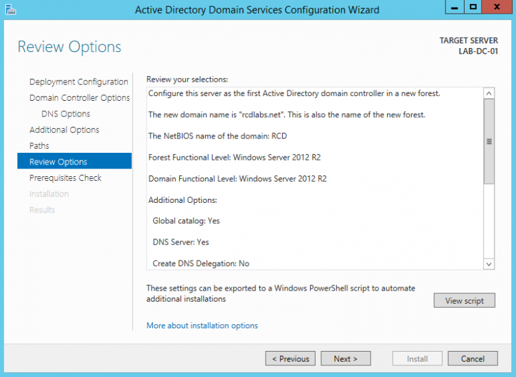 Server 2012 AD DS Review Installation