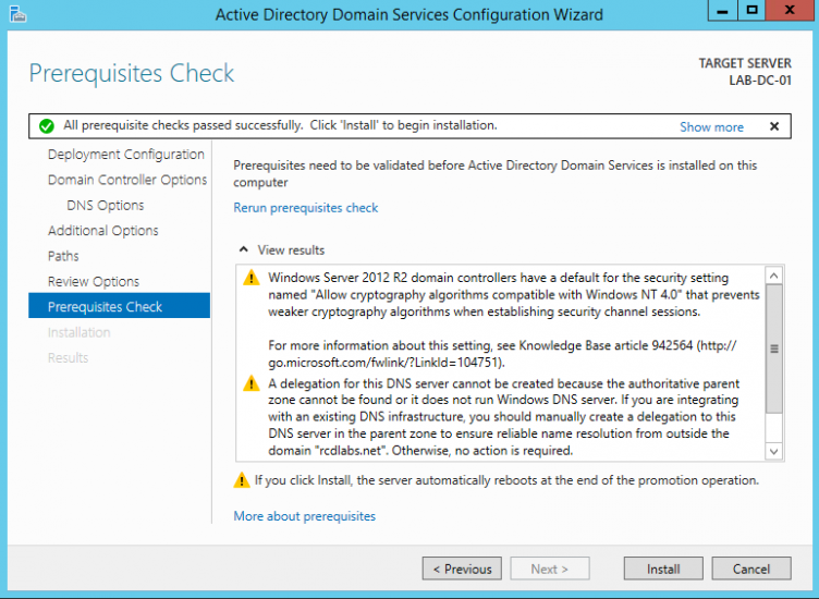 Server 2012 AD DS Prerequisites check