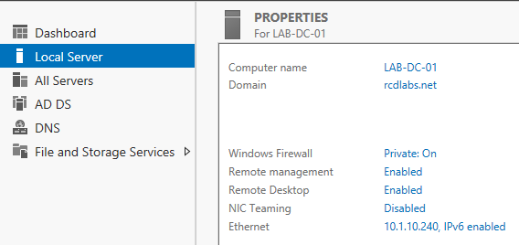 Server 2012 AD DS Added to Domain