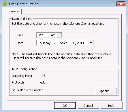 Set the time and enable the NTP client.