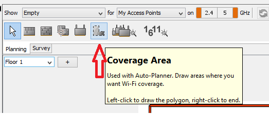 Ekahau Coverage Area Button