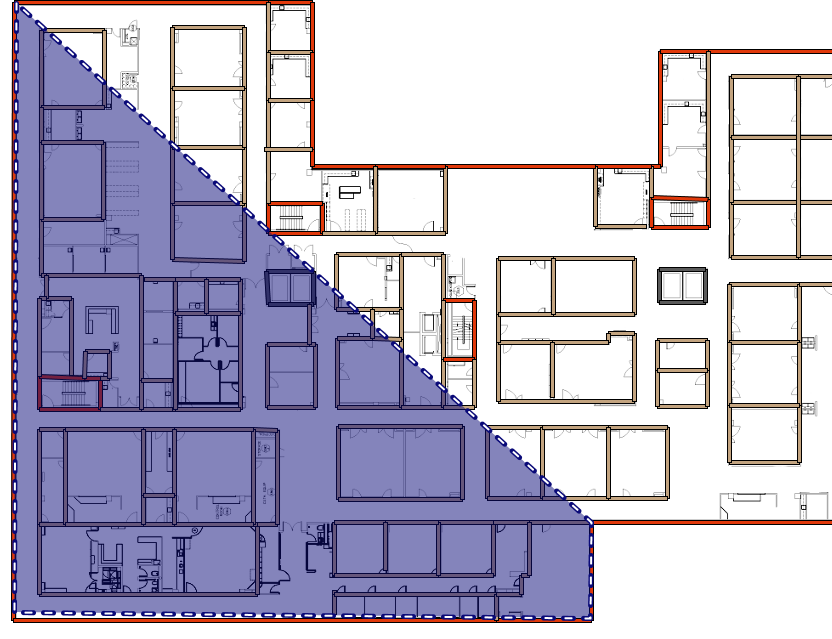 Define the coverage area on the floor plan.
