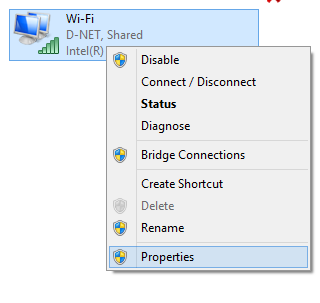 Properties of Wireless Adapter in Windows 8
