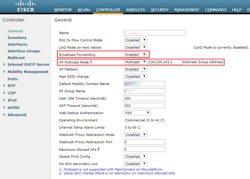 Enabling Cisco WLC Options