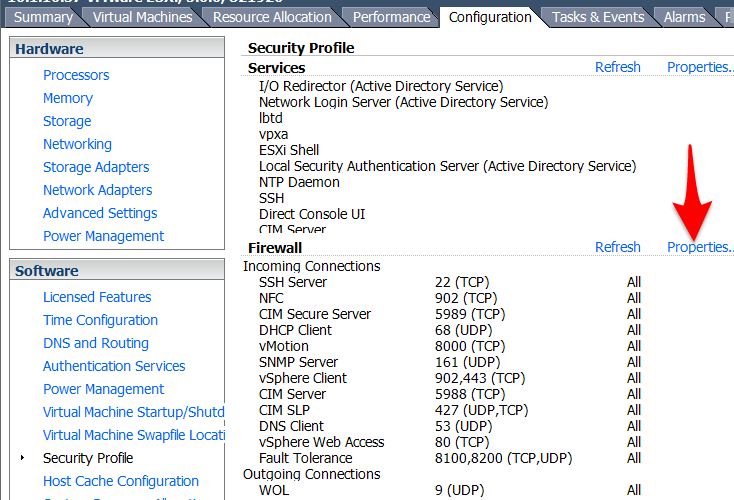 Firewall Properties of VMware