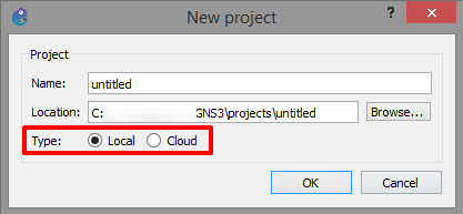 Store GNS3 project files locally or in the cloud