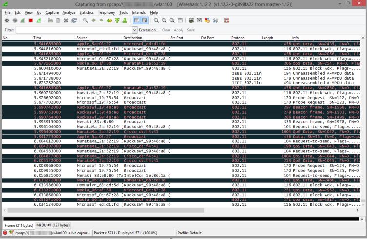 Wireshark captured packets