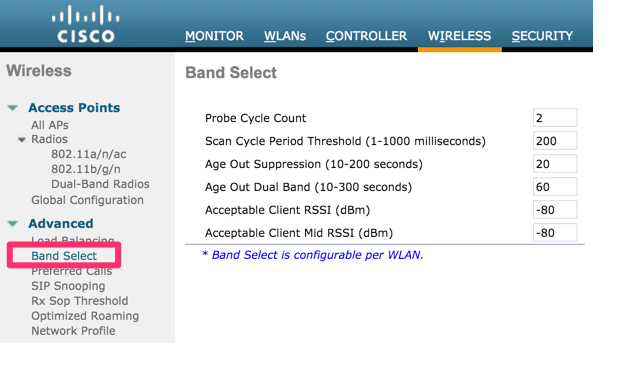 Global settings for Band Select