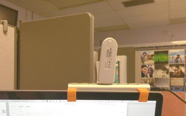 Hub Holster on laptop