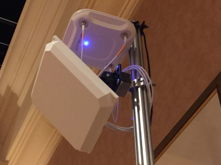 Access point mounted on a pole.