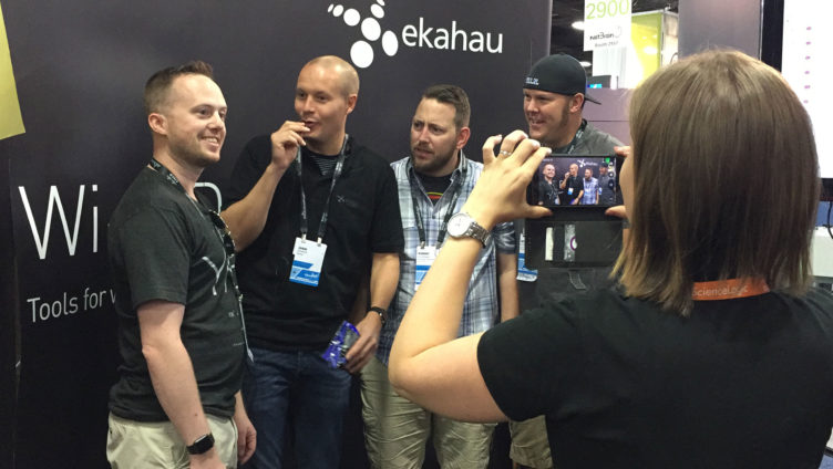 Having fun at the Ekahau booth at Cisco Live 2016