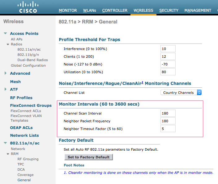 Configuring NDP intervals in Cisco WLC.